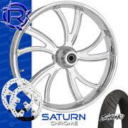 Rotation Saturn Chrome Custom Motorcycle Wheel Front Package Harley Touring 26