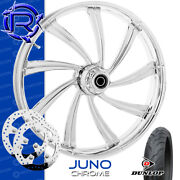 Rotation Juno Chrome Custom Motorcycle Wheel Front Package Harley Touring 21