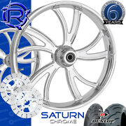 Rotation Saturn Chrome Custom Motorcycle Wheels Package Harley Touring Baggers
