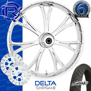 Rotation Delta Chrome Custom Motorcycle Wheel Front Package Harley Touring 26
