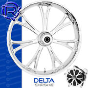 Rotation Delta Chrome Custom Motorcycle Wheel Front Harley Touring Baggers 21