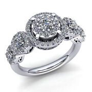 Natural 4ctw Round Cut Diamond Ladies Cluster Halo Engagement Ring 14k Gold