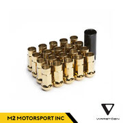 Varrstoen V48 12x1.25 Lug Nut Chrome Gold 24k Open Ended Extended 20pcs Set Key