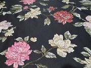 Stunning Textured Flowers On Black Satin Jacquard - Suits, Gowns, More