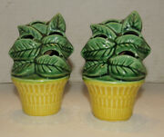 VINTAGE ART POTTERY WALL POCKETS Pair VASE - GREEN LEAVES IN YELLOW BASKET