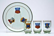Bohemian Egermann Crested Glass Tray And Glasses 19th C.
