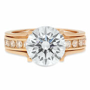 3.09ct Round Engagement Bridal Solitaire Sliding Ring Band Set 14k Yellow Gold