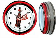 Coca Cola 1930's Bottle Coke 19 Double Neon Clock Choice Of Red Or Yellow Neon