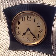 Rare Antique And Co Blue Guilloche Andsterling Silver 8 Day Clock
