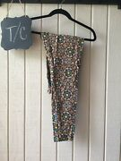 Lularoe Multicolor Leggings Tall And Curvy Leaves Pattern Green Yellow Blue