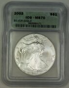 2003 American Silver Eagle Ase Dollar 1 Coin Icg Ms-70 Perfect Gem