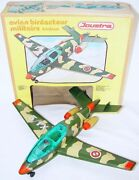 Joustra France Military Trainer X1/9 Jet Plane Airplane Friction Tin Toy Mib`78