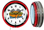 Used Cars Certified 19 Neon Clock, Red Neon, Man Cave Bar Car Lot Dealership