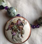 Antique Satsuma Pendant With Green Agate, Violet Glass Beads
