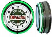 Sinclair Dino Opaline Motor Oil 19 Double Neon Clock Gas Vintage Style Sign