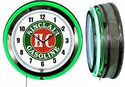 Sinclair H-c Gasoline Sign 19 Double Neon Clock Man Cave Garage Red Or Green
