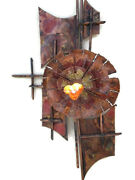 Vintage 1950s Original Lithuanian Metal Wall Art Copper Flower With Amber Heart