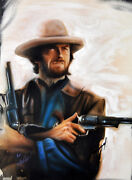 Clint Eastwood Autographed Signed 22x28 Canvas Custom Dirty Harry Painting