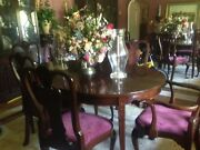 Cherry Dining Room Set - Table 6 Chairs China Closet/buffet And Server