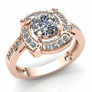 1carat Round Cut Diamond Ladies Twisted Halo Solitaire Engagement Ring 14k Gold