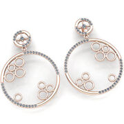 Genuine 5ct Round Cut Diamond Ladies Gift For Her Circle Drop Earrings 10k Gold