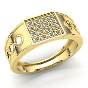 Natural 2ct Round Cut Diamond Mens Fashion Cluster Engagement Ring 18k Gold