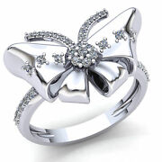 Real 3carat Round Diamond Ladies Butterfly Shaped Fancy Engagement Ring 14k Gold