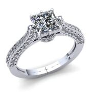 Natural 2ct Round Cut Diamond Ladies Accent Solitaire Engagement Ring 14k Gold