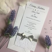 Wedding Or Evening Invitations Personalised Embossed Tall Long Bow Ribbon Flat