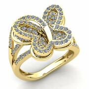 Natural 1.5ct Round Cut Diamond Ladies Butterfly Fancy Engagement Ring 18k Gold