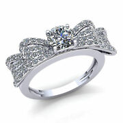 Genuine 2ct Round Cut Diamond Ladies Fancy Cluster Bow Engagement Ring 18k Gold