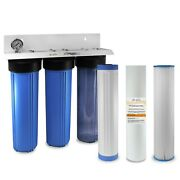 Stage 20x4.5 Big Blue Whole House / Well Water Filter System 1 Npt Ports