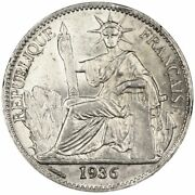 [30494] French Indo-china, 50 Cents, 1936, Paris, Km 4a.2, Au55-58, Silver