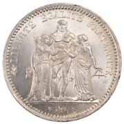 [57456] France Hercule 5 Francs 1873 Paris Km 820.1 Ms60-62 Silver