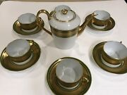 Limoges Laurel Leaves Gold Encrusted Green Band Tea Set For 6 With Small Teapot