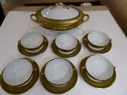 Limoges Laurel Leaves Gold Encrusted Green Band Cream Soup Cups And Tureen For 6