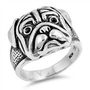 Pit Bull Dog Pug Head Animal Face Ring New .925 Sterling Silver Band Sizes 7-12