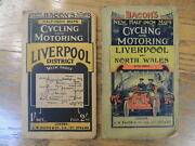 2 Bk Set Baconand039s Half-inch Maps Cycling And Motoring Liverpool And North Wales