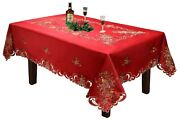 Holiday Christmas Bell Ornament Pine Cone Tablecloth With Napkins Red Gold 6746