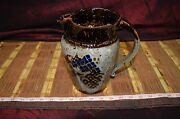 """Asian Hand Made Pottery Pitcher Vase Browns Signed Bottom 7 3/4""""x7"""""""