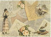 Rice Paper For Decoupage Scrapbook Craft Sheet A/3 Vintage Love Letters