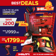 Hilti Te 30-a36 Atc - Avr Cordless Combihammer Preowned Fre Sid 2-a Fast Ship