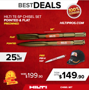 Hilti Pointed And Flat Chisels Te-sp For Te 805 905 1000 1500 Fast Ship