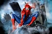 Spider-man Superhero Nyc Skyscapers Fine Art Giclandeacutee On Canvas Signed By Stan Lee