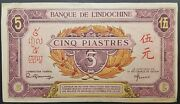 Scarce Pink Issue French Indo China 5 Piastres/yuan/riel 1942 Circulated