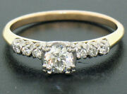 Vintage 14k Two Tone Gold Engagement Ring .63ctw European And Single Cut Diamonds