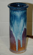 "11"" Tall  Blue Fine Drip Glaze Artist Pottery Vase Nice Colors  Artist Signed"