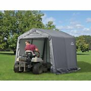New 10and039lx10and039wx8and039h Storage Shed Portable Garage Canopy Gray 70333 Easy Set Up