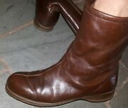 Vintage Womens Hush Puppies Brown Leather Ankle Boots Size 7 M Fleece Lining..