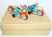 Modern Toys Japan Pd Police And Race Motorcycle 15cm Tin Friction Toy Mint`68 Rare